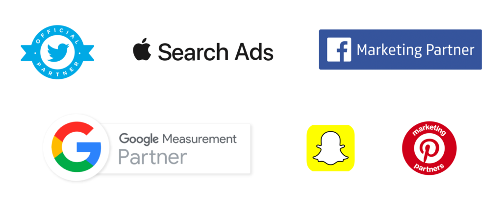 Partner - Twiiter, Apple Search Ads, Facebook, Google Partner, Snap, Pinterest