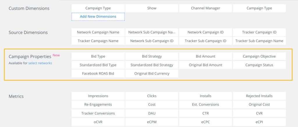 campaign properties in Singular